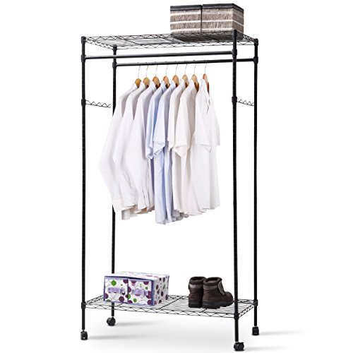 Heaven Tvcz Rack Double Hanging Clothes Rod Portable Shelf R
