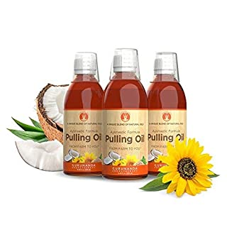GuruNanda Oil Pulling Oil, Natural Mouthwash, Ayurvedic Blend of Coconut, Sesame, Sunflower, Peppermint Oils A Refreshing Oral Rinse - Helps Bad Breath, Healthy Gums