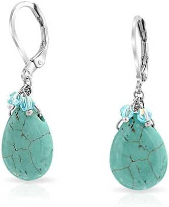 Bling Jewelry Reconstituted Turquoise Drop Crystal Leverback Earrings Rhodium Plated