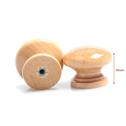 wood 30Pcs Furniture Drawer Door Cabinet Closet Wood Round Knob Pull Handle by wood knob (Image #2)