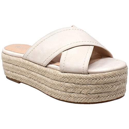 625d2366ced SOBEYO Womens Platform Sandals Wedge Flatform Slides Criss Cross Strap  Espadrilles
