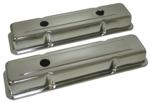 (1958-86 Compatible/Replacement for Chevy Small Block 283-305-327-350-400 OEM Style Short Valve Covers - Chrome)