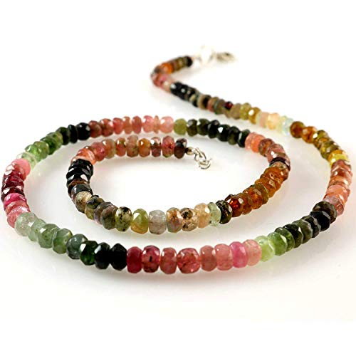 Women's Natural Multi Color Tourmaline Gemstone Beads Necklace with Metal Clasp 17 inches - Tourmaline Color Necklace Multi