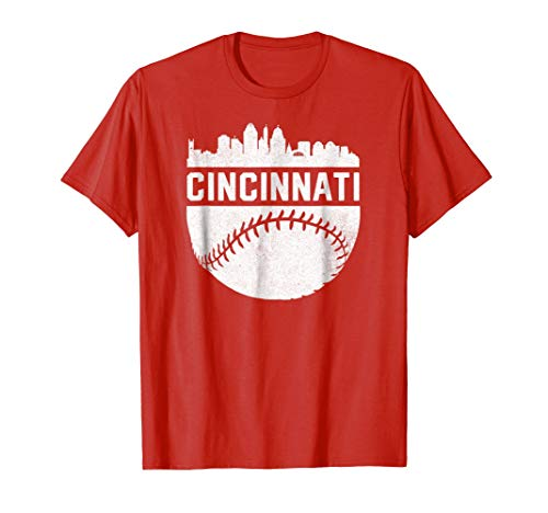 Cincinnati Classic Reds Shirt (Vintage Downtown Cincinnati Ohio Skyline Baseball T-Shirt)