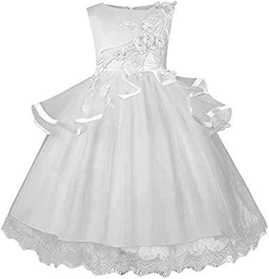 697d16803581 Amazon.com  Kids Girl Dress Embroidery Pageant Gown Party Bridesmaid ...