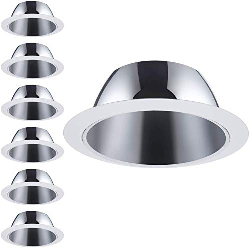 TORCHSTAR 6 Pack 6 Inch Recessed Can Light Trim with Aluminum Reflector, for 6 inch Recessed Can, Detachable Iron Ring Included