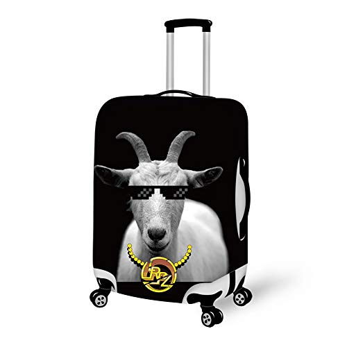 (Funny Goat Animal Horns Luggage Protector Luggage Case with Zipper, Anti-Scratch Waterproof Dustproof Elasticity Travel Luggage Suitcase Protector Baggage & Luggage)