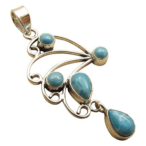925 Silver Plated 5 Gemstones Pendant, Made In India Jewelry Store ! Nouveau Anniversary Gift - Silver Multiple Gemstone Pendant