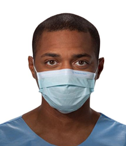 Halyard Health 47080 Procedure Mask, Pleat Style with Earloops, Tissue Blue (10 Boxes of 50, 500 Total) by Halyard Health (Image #1)