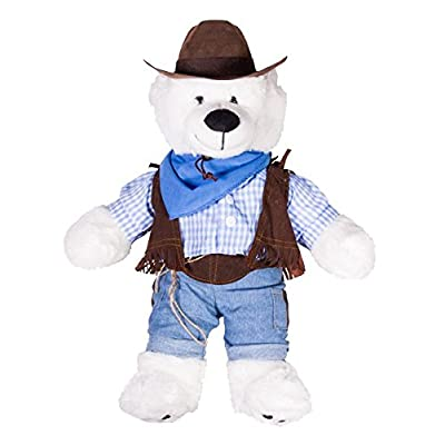 "Cowboy w/Hat and Scarf Outfit Teddy Bear Clothes Fits Most 14"" - 18"" Build-A-Bear and Make Your Own Stuffed Animals : Toys & Games"