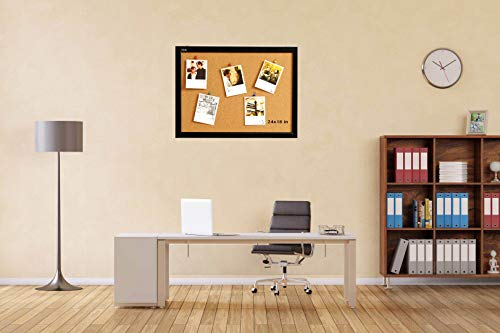 Wood Frame Cork Board Bulletin Board 24 x 18, Mounting Hardware, Push Pins Included by gideal (Image #1)