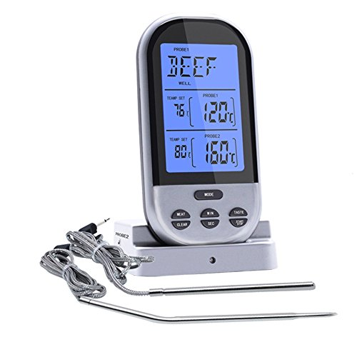 E Scenery Lcd Wireless Remote Digital Cooking Food Meat Thermometer With Dual Probe For Smoker Grill Bbq Instant Read Timerthermometer  Silver