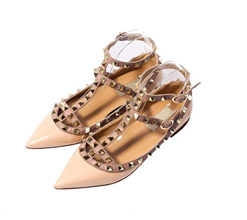 katypeny Womens Sexy Stud Buckle Shallow Mouth Pointed Toe Flat Pump Shoes Nude Patent Leather 11 M US