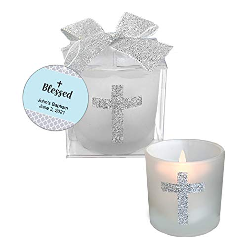 Fashioncraft, Baptism First Communion Christening Favors, Candle Party Favors with Sparkling Silver Cross, Personalized Custom Tags, Blue, Set of 36 for $<!--$78.99-->