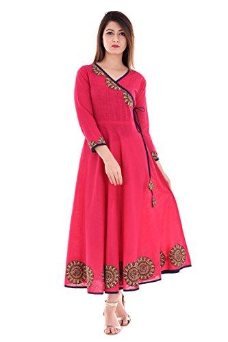 - Yash Gallery Indian Tunic Tops Women's Cotton Slub Angrakha Style Anarkali Kurta (Pink, M)