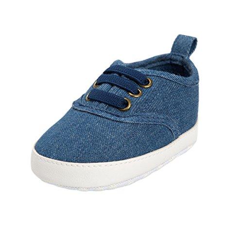 BENHERO Baby Boys Girls Canvas Toddler Sneaker Anti-slip First Walkers Candy Shoes 0-24 Months 12 Colors (11cm(0-6months), Dark Jeans) Walker Denim