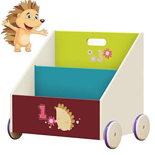 Labebe Kid Bookshelf with Wheels, Green Hedgehog Wood Bookshelf for Kid 1 Year Up, Baby Bookshelf/Child Bookshelf/Toddler Bookshelf/Kid Book Storage/Kid Room Bookshelf/Kid Book Rack Display/Book Shelf ()