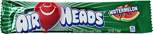 AirHeads Candy Individually Wrapped Bars, Watermelon, Non Melting, 0.55 Ounce -