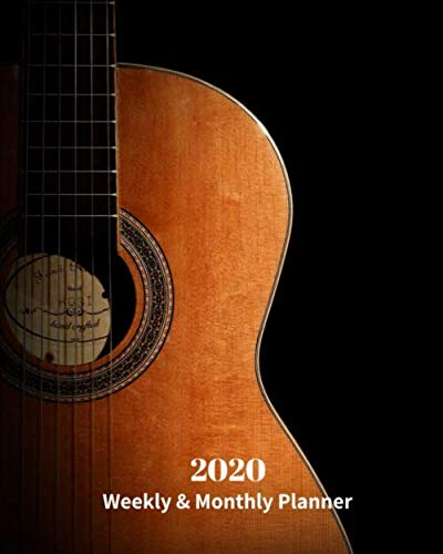 2020 Weekly and Monthly Planner: Brown Guitar - Monthly Calendar with U.S./UK/ Canadian/Christian/Jewish/Muslim Holidays- Calendar in Review/Notes 8 x 10 in.-Music / Musical Instruments / Guitar by Dazzle Book Press