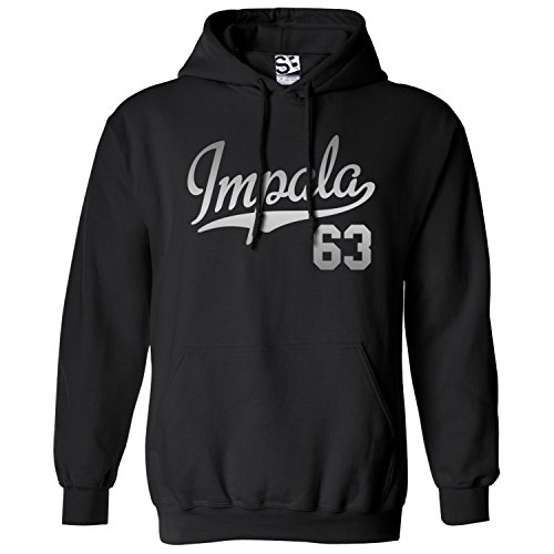 - Shirt Boss Unisex Impala 63 Script & Tail HOODIE 2XL Black / Met Silver