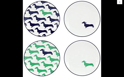 kate spade new york Wickford Dachshund Tidbit Plates, Set of 4
