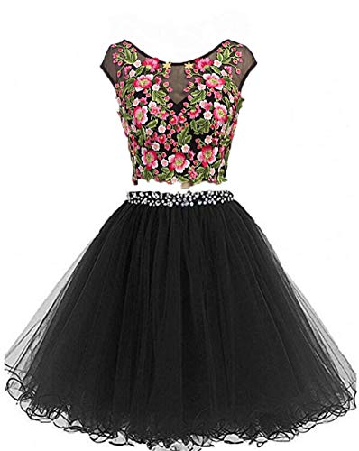 Dydsz Short Prom Homecoming Dresses for Women Junior 2 Piece Cocktail Party Gown Backless D295 Black-2 Piece 8