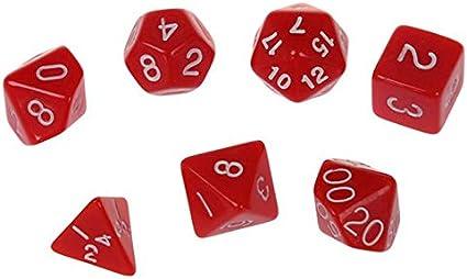 JVSISM Juegos de Dados, Dados PoliéDricos, 7 Piezas Juego de Tablero de Juguete de Juego de rol de Dados de Varios Lados (Rojo): Amazon.es: Juguetes y juegos