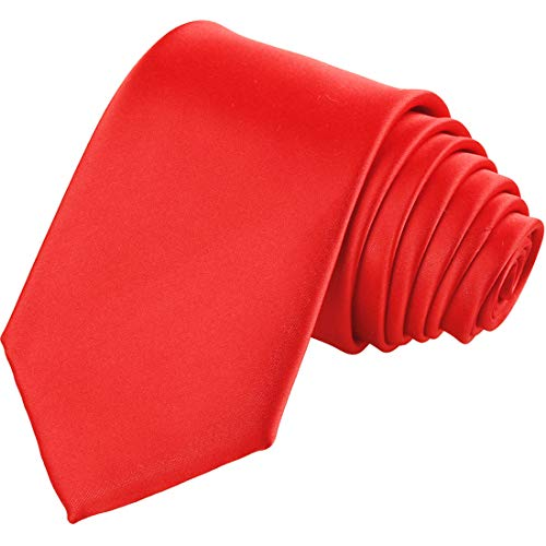 KissTies Mens True Red Tie Solid Satin Necktie Wedding Ties + Gift Box