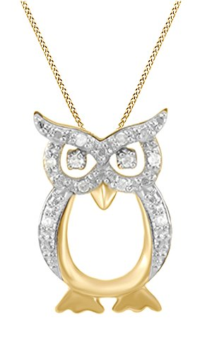 April Birthstone Natural Diamond Owl Pendant Necklace 14k Yellow Gold Over Sterling Silver (1/10 Cttw) ()