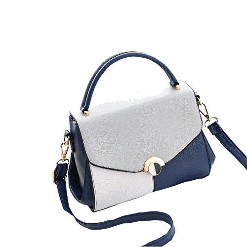 Bolso De Hombro De Cuero De La PU De Las Mujeres Bolsos De Moda De Diseño Elegante Top Handlegs (gris) Blue