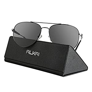 ALKAI Aviator Sunglasses for Men Women Polarized Sunglasses 100% UV400 Protection Metal Frame Sunglasses Driving (Gray)