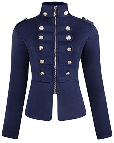 Military Jacket Blazer - JOKHOO Women's Zip Front Stand Collar Military Light Jacket Zip Up Blazers (Navy, 2XL)