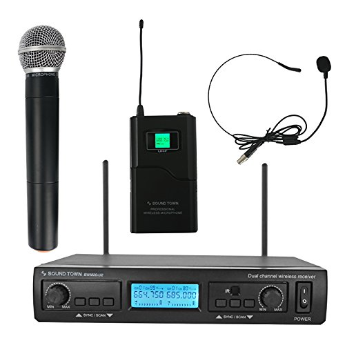 Sound Town Professional Dual-Channel UHF Handheld Wireless Microphone System with Selectable Frequencies, 1 Handheld + 1 Headset Mics (SWM20-U2HB) (Dual Channel Vhf Handheld Microphone)
