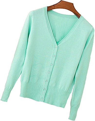 S.S Womens V-Neck Button Down Long Sleeve Crew Neck Soft Classic Basic Knit Cardigan Sweater (S-6X) (Small, Aquamarine)