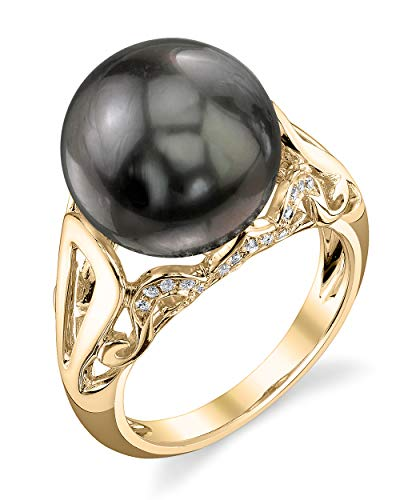 THE PEARL SOURCE 18K Gold 12-13mm Round Genuine Black Tahitian South Sea Cultured Pearl & Diamond Mona Ring for Women