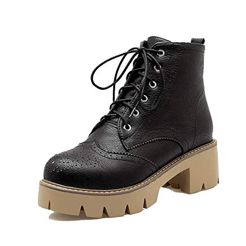 AmoonyFashion Women's Solid Pu Kitten-Heels Lace-Up Round-Toe Boots,