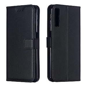 DENDICO Funda Galaxy A7 2018, Funda Delgada de Cuero para Samsung Galaxy A7 2018, Magnetico Carcasa Libro [Ranuras para Tarjetas] [Cierre Magnético] - Negro