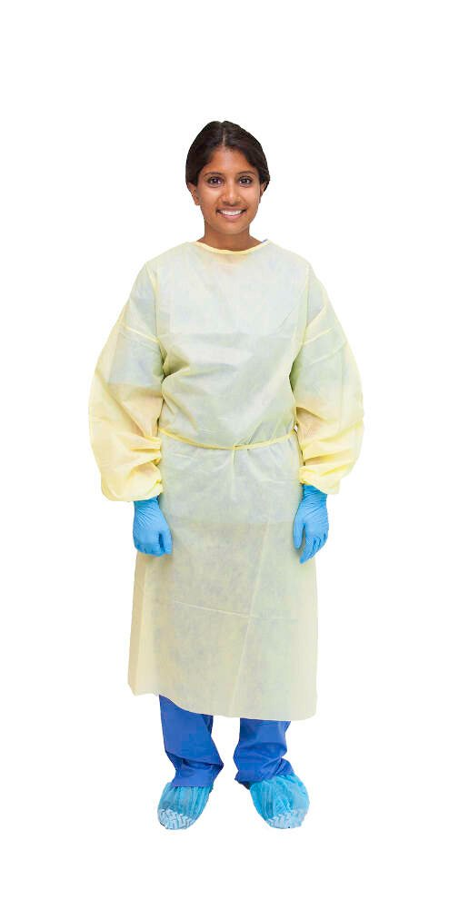 MediChoice Isolation Cover Gown, PSB, Full Back, Elastic Cuff, Tie Neck And Waist, XL, Yellow (Bag of 10)