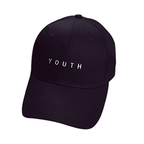 Price comparison product image Voberry Men Womens Cotton Baseball Cap Boys Girls Snapback Hip Hop Flat Hat (Black )