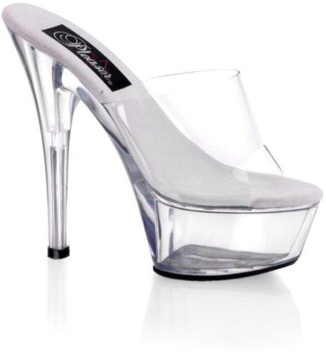 Pleaser EU-KISS-201 - Sandalias de material sintético mujer Transparent