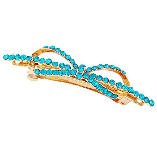 Rosemarie Collections Women's Crystal Hair Clip Rhinestone Barrette Hair Accessories Ribbon Bow (Blue) ()