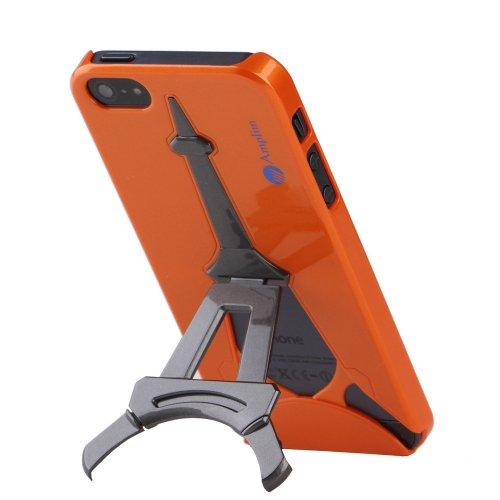 iPhone 5 Case: Orange Metallic Amplim Eiffel Apple iPhone 5 Case, Abrasion Resistant Hard Case With Eiffel Tower Kickstand (AT&T, Verizon, Sprint, T-Mobile) - Retail Packaging, iPhone 5S Cover, iPhone 5 Case (Orange Metallic)