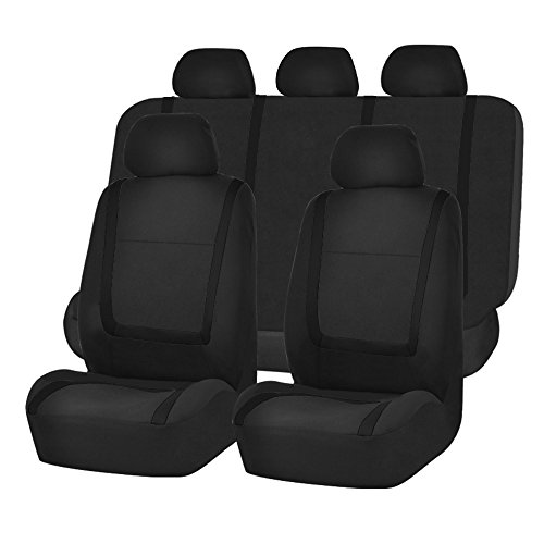 Seat Black Cloth (FH GROUP FH-FB032115 Unique Flat Cloth Seat Cover w. 5 Detachable Headrests and Solid Bench Black- Fit Most Car, Truck, Suv, or Van)