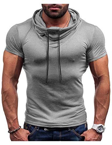 COOFANDY Mens Muscle Shirt Gym Workout Fashion Short Sleeves T-Shirt Grey ()