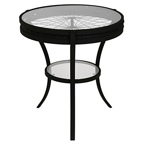 monarch specialties hammered black accent table with tempered glass, 20-inch