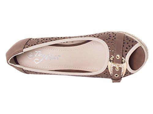 Tory Klein Chaussures Espadrilles Espadrilles Compensées Pour Femme Et Femme - Bout Ouvert Conceptions Boucle Ardillon - Marron