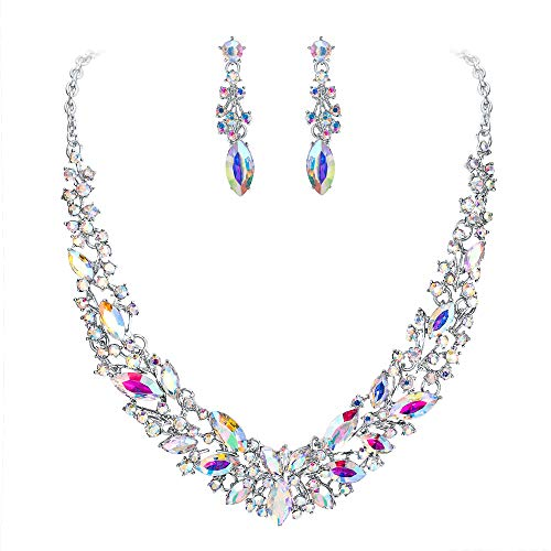 BriLove Wedding Bridal Necklace Earrings Jewelry Set for Women Austrian Crystal Marquise Cluster Collar Necklace Dangle Earrings Set Iridescent Clear AB Silver-Tone ()