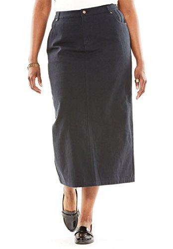 Jessica London Women's Plus Size Classic Cotton Denim Long Skirt Black,18 by Jessica London