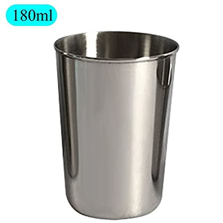 Stainless Steel Cups, PUAO Metal Cups for Kids Modern Innovations Stainless Steel Pint Cups for Drinking- BPA Free, Shatterproof SS Tumblers Perfect for Baby, Camping, Picnics (1oz(30ml), Silver)