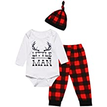 Baby Boys Girls Cute Deer Little Man Long Sleeve Plaid Clothes Outfit Set